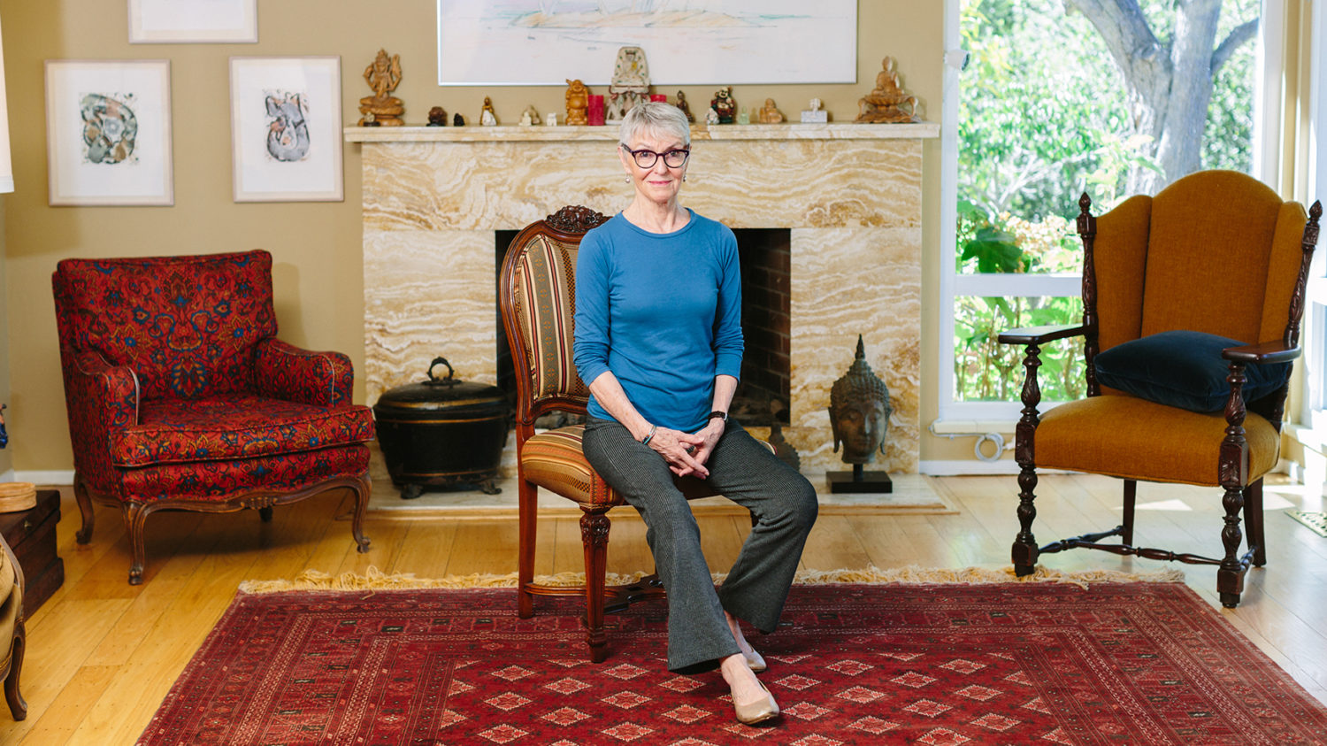 Jean couch 75 perches on the edge of a chair at her home in los altos hills calif she teaches people the art of sitting in chairs without back pain