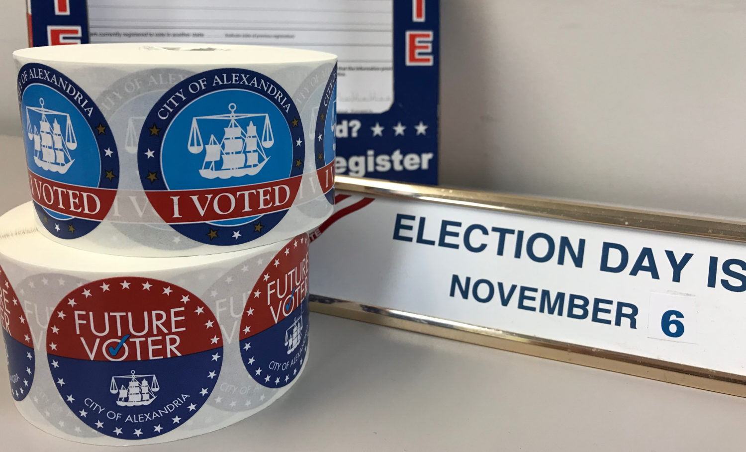 Voters in alexandria and their children will be getting newly redesigned i voted and future voter stickers on election day
